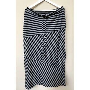 Seven 7 Striped Long Maxi Drawstring Waist Skirt L